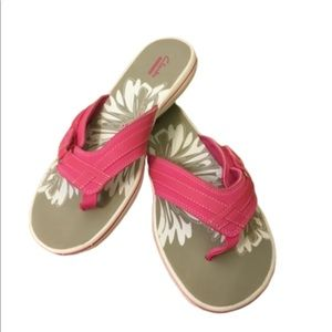 Clark's Pink and White Adjustable Flip Flops. 10